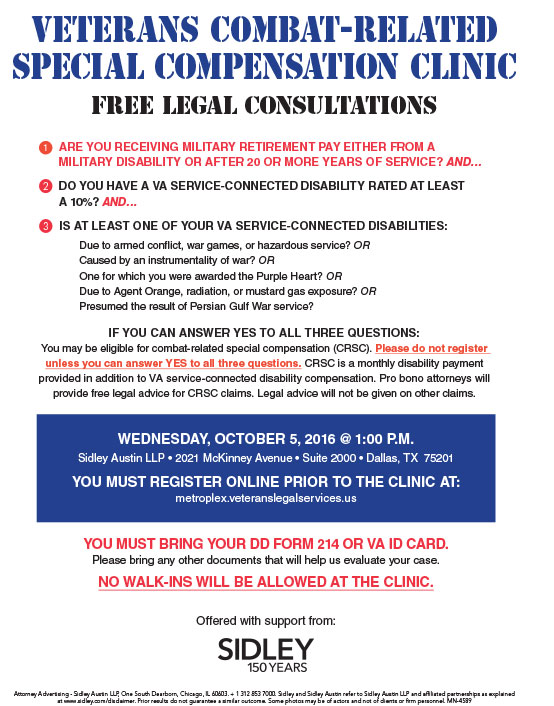 Veterans Combat-Related Special Compensation Clinic @ Sidley Austin LLP   Dallas   Texas   United States